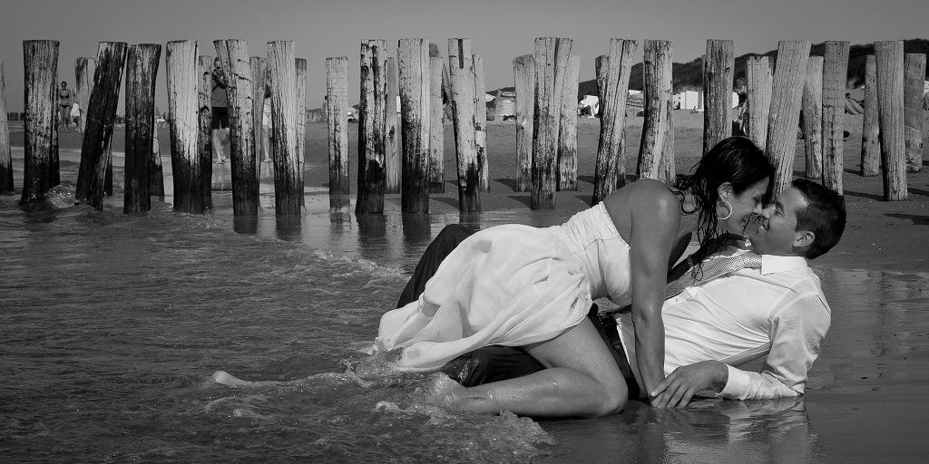couple lying beach